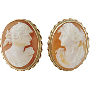 Vintage 14K Yellow Gold Large Female Shell Cameo Cufflinks
