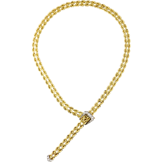 Vintage 14K Gold & Diamond Twisted Rope Buckle Clasp Adjustable Necklace