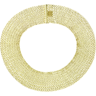 Vintage Craig Drake 18K Yellow Gold Extra Wide Mesh Collar Necklace