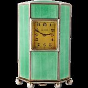 Vintage Art Deco Juvenia Sterling Silver Guilloche Enamel Travel Clock