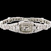Vintage Tiffany & Co Platinum Diamond Bracelet Watch, Hamilton Movement