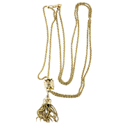 Victorian 14K Yellow Gold Long Guard Tassel Slide Chain, 19th Century