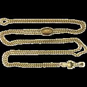 Victorian 14K Yellow Gold Long Guard Enamel Slide Chain & Hand Clasp, c. 1880s