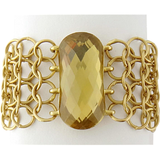 H.Stern 18K Gold Flexible Chain Mesh and Citrine Ring