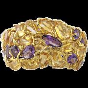 Massive Vintage 18K Yellow Gold Citrine Amethyst Wide Bangle Bracelet