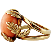 Vintage 14K Yellow Gold & Natural Coral Button Ring, Size: 7.5