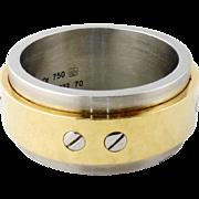 Estate Cartier Stainless Steel & 18K Yellow Gold SANTOS 100 Men's Ring Size 70 13.5 US