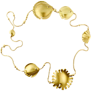 Vintage Tiffany & Co Angela Cummings 18K Gold Seashell Fish Necklace, c. 1981