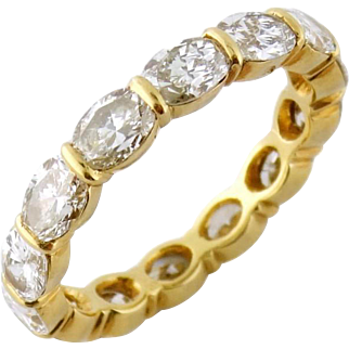 Vintage French 18K Gold 2.52ct Oval Diamond Eternity Band Ring Size 7