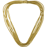 Fine Italian Vintage Estate 18K Textured Yellow Gold Seven 7 Strand Chain Necklace