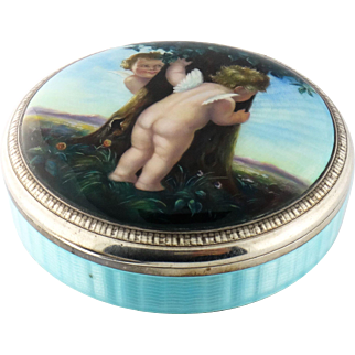 Antique 935 Sterling Silver Guilloche Enamel Putti Angel Painting Large Box
