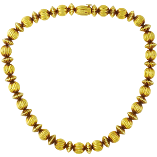 Vintage Estate Ilias Lalaounis 18K Yellow Gold Ribbed Fluted Bead Necklace