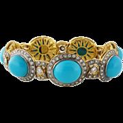 Vintage Estate 14K Gold and 4.62ct Diamond Turquoise Station Bracelet
