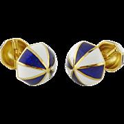Estate David Webb 18K Yellow Gold Blue/White Enamel Double-Sided Cufflinks