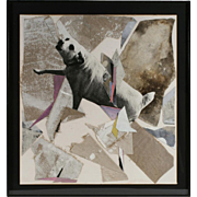 Abstract Painting & Collage of a Dog by Dario Villalba - 1985