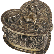 Dutch Silver Heart-Shaped Repousse Box - 18th Century - 'Love Birds and Tulips'