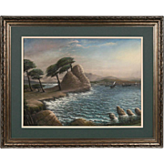Early California Pastel Painting - Monterey 19th Century