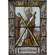 "16th Century Painted Stained Glass Panel - ""Sanctus Andreas"""
