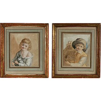 Pair of French Watercolor Paintings - Early 19th Century