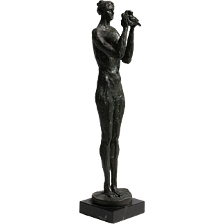 """""""Woman with Dove"""" Bronze Sculpture by Frank Vianello"""