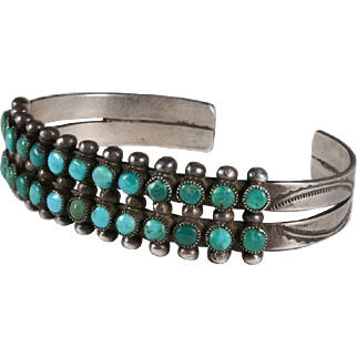 Old Pawn Zuni Snake-Eye Turquoise & Silver Bracelet
