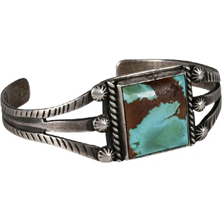 Early Navajo Turquoise and Silver Bracelet - Circa 1930's