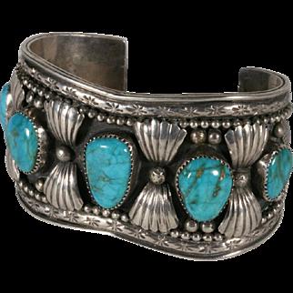 Zuni Silver & Turquoise Bracelet  by Juan Calavaza -1950's