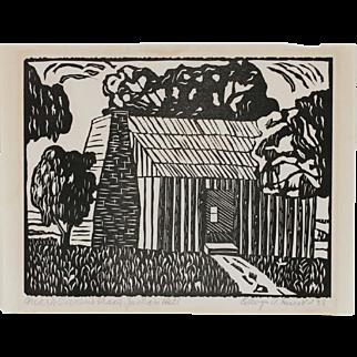 Woodcut Print of Mark Twain's Cabin by Edwyn Hunt - 1938