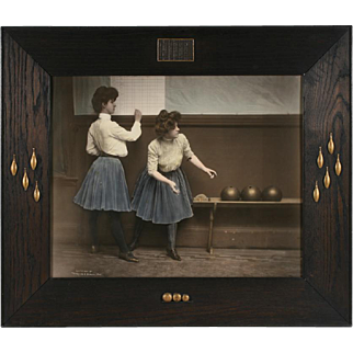'Women Bowlers' 1903 Hand-Colored Photograph - Arts & Crafts Frame