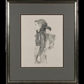 """Diane Di Prima & Her Son"" by Raphael Soyer - Original Signed Etching 1973 - Beat Era"