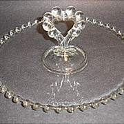 "Vintage - Imperial Candlewick 8"" Center Heart Handled Mint Tray"