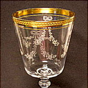 Tiffin Bouquet~17301~Etched~Gold Encrusted Band - Crystal Water Goblet