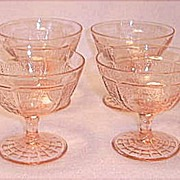 Depression Era Hocking Glass ~ Princess Footed Sherbets 5 Ounce ~ Pink 1931-1934