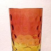 Antique Hobbs Brockunier & Co. Glass~Polka Dot~Amberina Tumbler-Inverted Thumbprint