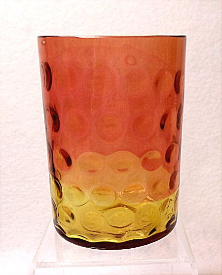 Antique Hobbs Brockunier & Co. Glass~Polka Dot~Amberina Tumbler-Inverted Thumbprint