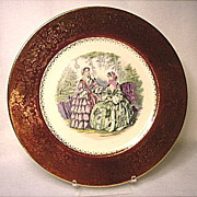 SAVE 20% - Vintage Salem China Co. Godey Victorian Ladies - Service Plate - 23K Gold Trim - Wood's Scene
