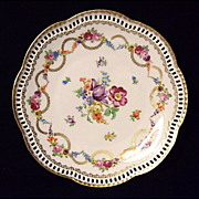 Vintage Schumann Dresden Flowers Swag Plate~Reticulated Rim