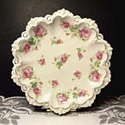 Vintage MZ Moritz Zdekauer~Scalloped Pink Rose Porcelain Ice Cream Dish~Austria