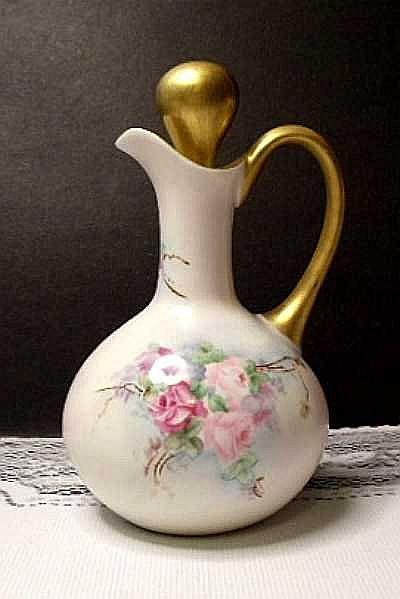 SAVE 20 % - Antique Hand Painted Limoges Porcelain Cruet ~ Floral ~ Roses
