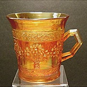 SALE SAVE 20% - Antique Fenton Orange Tree Carnival Glass Mug~Marigold