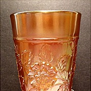 Dugan Glass Co. Rambler Rose Carnival Marigold Tumbler