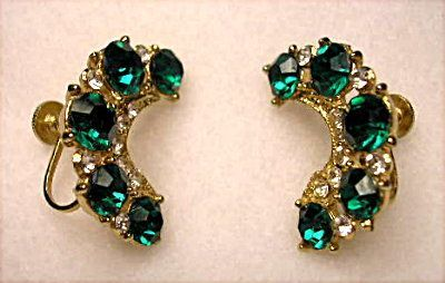 Vintage - Coro Costume Earrings~Emerald Green Rhinestones