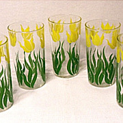 Vintage Tulip Tumblers Yellow and Green