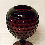Imperial Glass Early American Hobnail Ruby Red Ivy Ball or Rose Bowl ~ 1930's Depression Elegant Glass