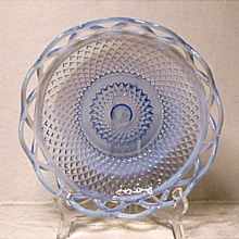 "Vintage Imperial Glass Lace Edge 8"" Fruit Bowl ~ Moonstone Blue Opalescent"