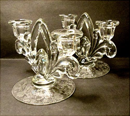 SALE - Rose Point - Cambridge Co.  # 3900/72 Two Lite Candle Holders