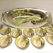 Vintage Noritake 12 Piece Hand Painted Porcelain Celery Set