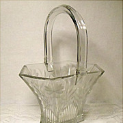 "SALE SAVE 25% - 8"" Heisey Glass Basket~Picket #458 With Ornate Sprig and Daisy Cutting"