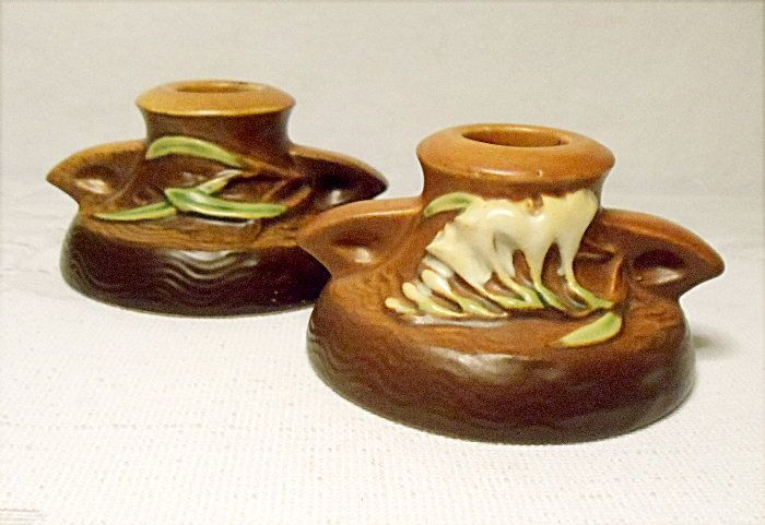 "Vintage Roseville Freesia Candle Holders - #1160-2"" – Terra Cotta and Brown"