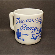 1950's Hazel-Atlas Tex On The Range Kiddie Ware Mug
